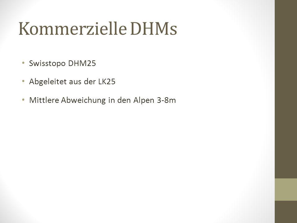 Kommerzielle DHMs Swisstopo DHM25 Abgeleitet aus der LK25 Mittlere Abweichung in den Alpen 3-8m