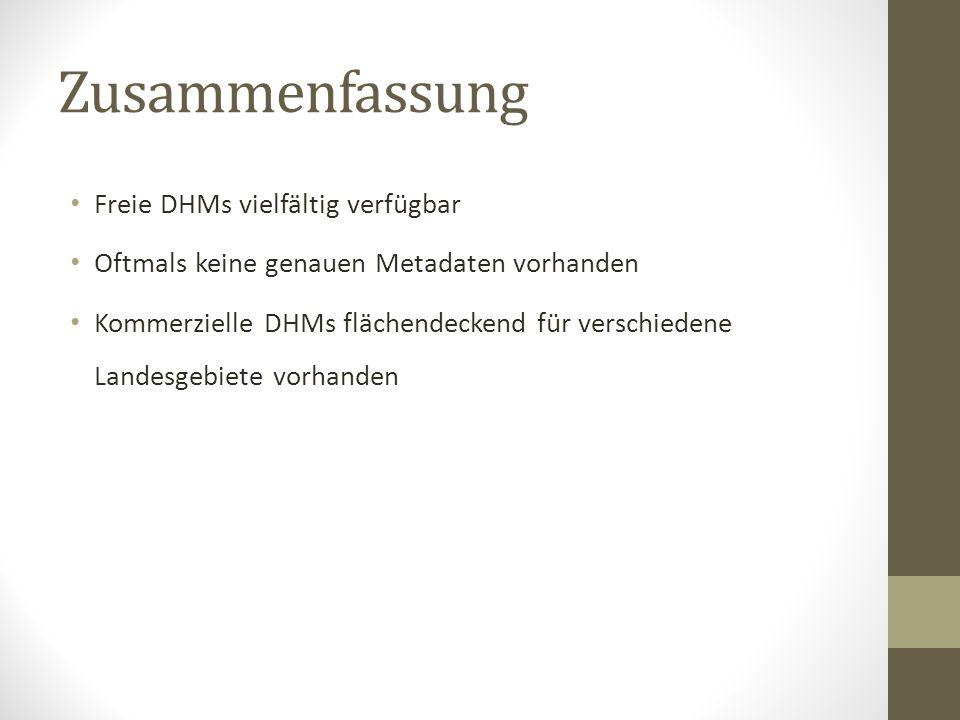 Zusammenfassung Freie DHMs vielfältig verfügbar Oftmals keine genauen Metadaten vorhanden Kommerzielle DHMs flächendeckend für verschiedene Landesgebi