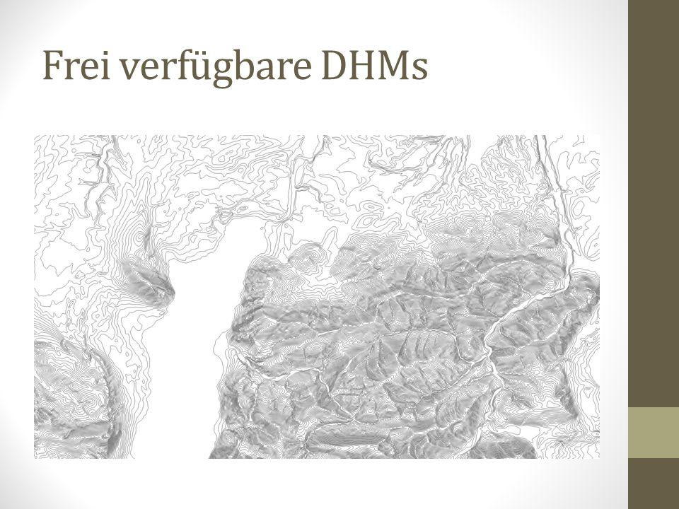 Zusammenfassung Freie DHMs vielfältig verfügbar Oftmals keine genauen Metadaten vorhanden Kommerzielle DHMs flächendeckend für verschiedene Landesgebiete vorhanden