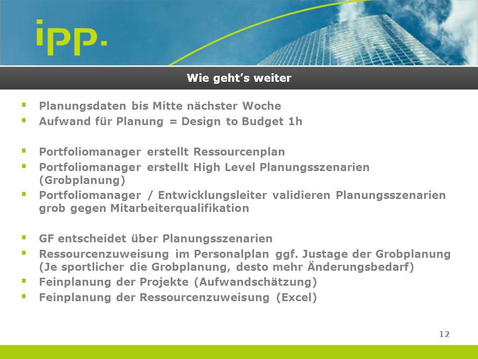 Wie geht's weiter  Planungsdaten bis Mitte nächster Woche  Aufwand für Planung = Design to Budget 1h  Portfoliomanager erstellt Ressourcenplan  Po