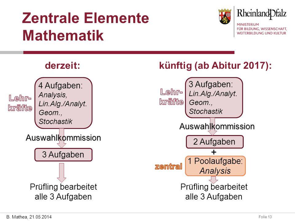 Folie 1328.03.2014 B. Mathea, 21.05.2014 Zentrale Elemente Mathematik derzeit:künftig (ab Abitur 2017): 4 Aufgaben: Analysis, Lin.Alg./Analyt. Geom.,