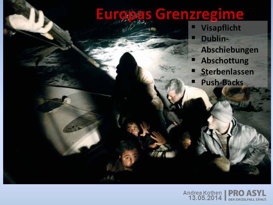 Europas Grenzregime  Visapflicht  Dublin- Abschiebungen  Abschottung  Sterbenlassen  Push-Backs Andrea Kothen 13.05.2014