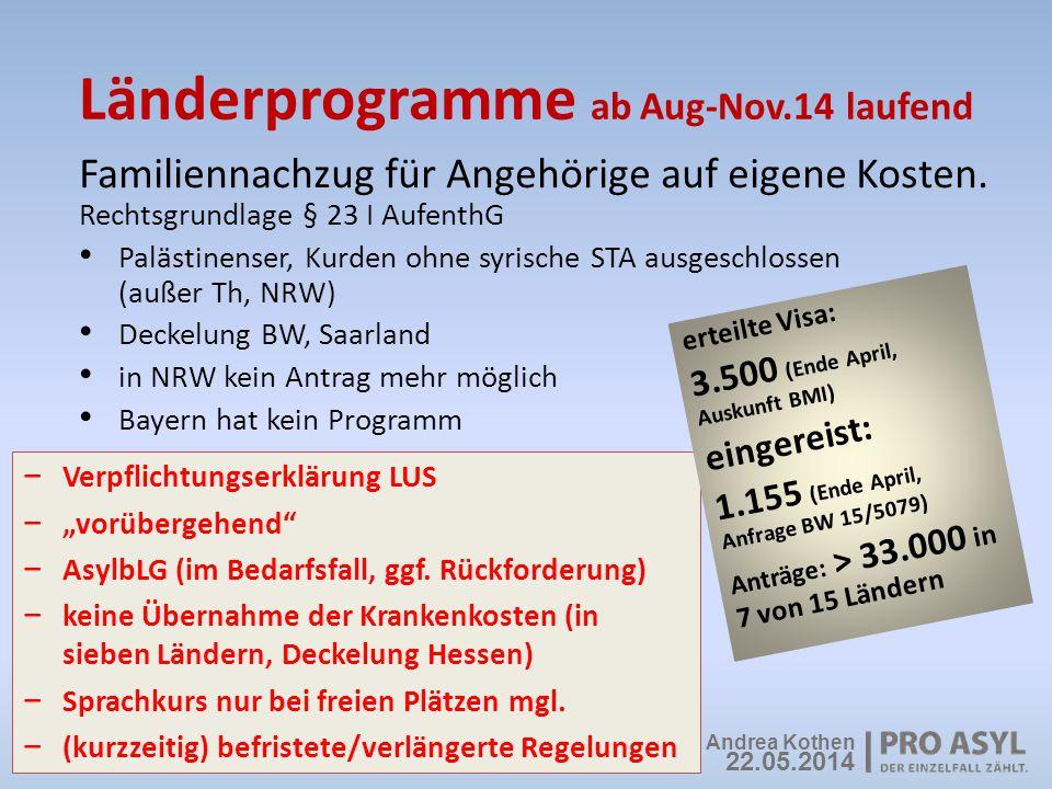 Länderprogramme ab Aug-Nov.14 laufend Familiennachzug für Angehörige auf eigene Kosten. Rechtsgrundlage § 23 I AufenthG Palästinenser, Kurden ohne syr