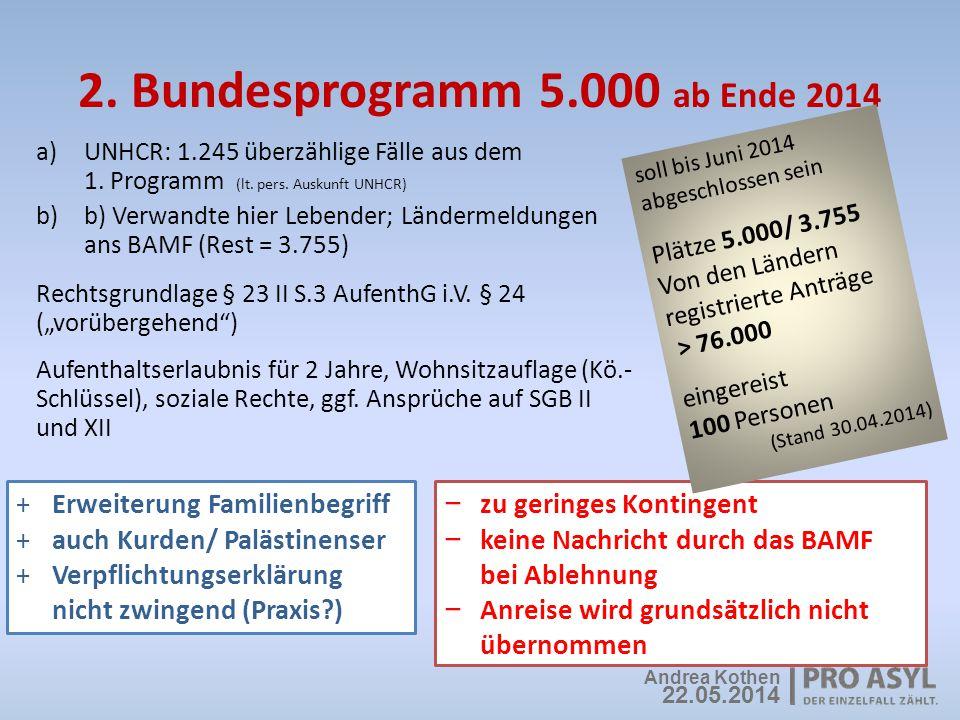 2. Bundesprogramm 5.000 ab Ende 2014 a)UNHCR: 1.245 überzählige Fälle aus dem 1. Programm (lt. pers. Auskunft UNHCR) b)b) Verwandte hier Lebender; Län