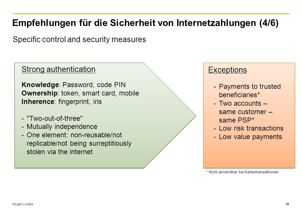 Hogan Lovells Empfehlungen für die Sicherheit von Internetzahlungen (4/6) 18 Specific control and security measures Knowledge: Password, code PIN Ownership: token, smart card, mobile Inherence: fingerprint, iris - Two-out-of-three -Mutually independence -One element: non-reusable/not replicable/not being surreptitiously stolen via the internet Strong authentication Exceptions -Payments to trusted beneficiaries* -Two accounts – same customer – same PSP* -Low risk transactions -Low value payments * Nicht anwendbar bei Kartentransaktionen