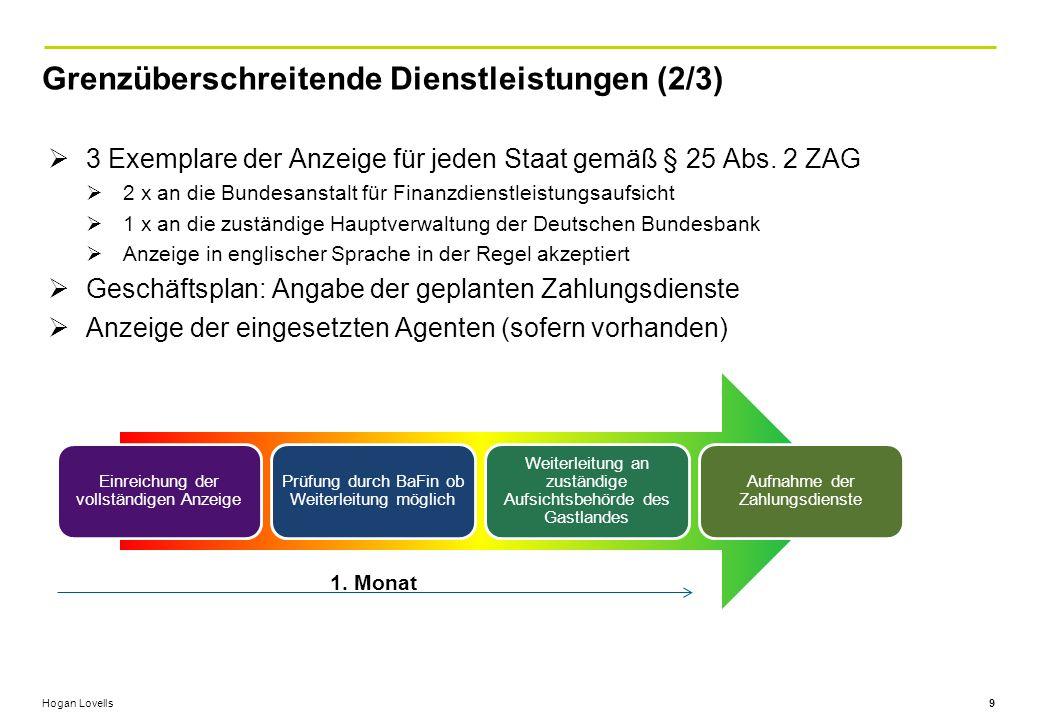 Hogan Lovells Grenzüberschreitende Dienstleistungen (2/3) 9  3 Exemplare der Anzeige für jeden Staat gemäß § 25 Abs.