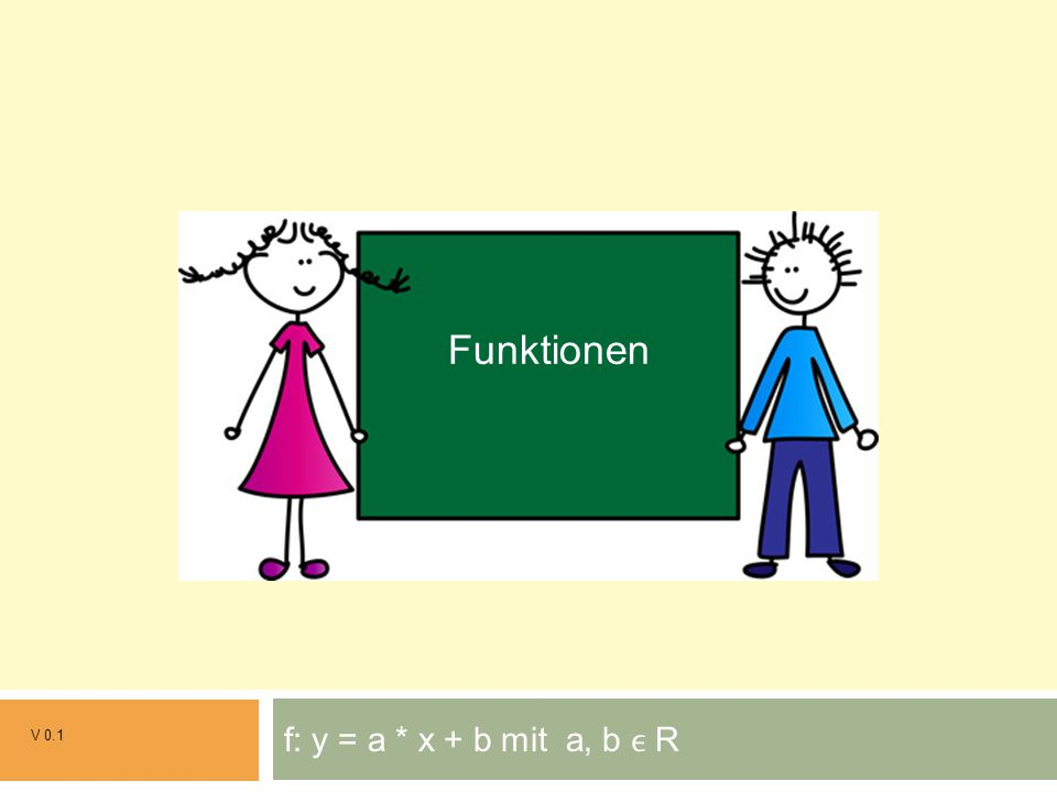 f: y = a * x + b mit a, b R V 0.1 Grundrechenarten Funktionen