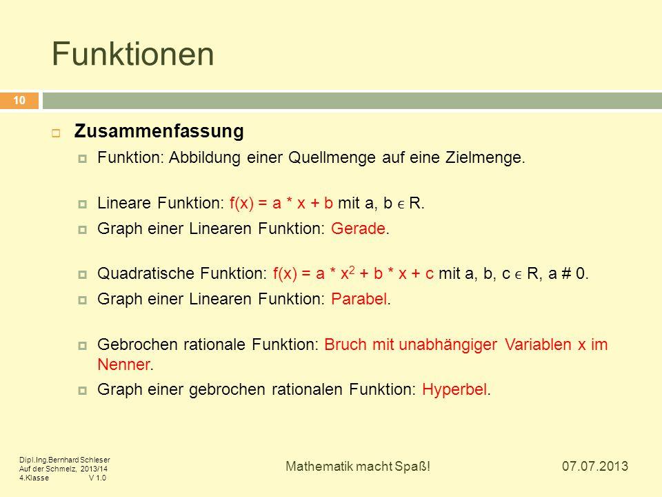 Funktionen 07.07.2013 Mathematik macht Spaß! 10  Zusammenfassung  Funktion: Abbildung einer Quellmenge auf eine Zielmenge.  Lineare Funktion: f(x)