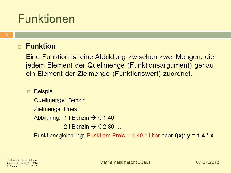 Funktionen  Lineare Funktion Eine Funktion f heißt linear, wenn die Funktionsgleichung durch f(x) = a * x + b mit zwei beliebigen Werten a, b R gegeben ist.
