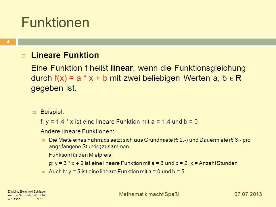 Funktionen  Lineare Funktion Eine Funktion f heißt linear, wenn die Funktionsgleichung durch f(x) = a * x + b mit zwei beliebigen Werten a, b R gegeb
