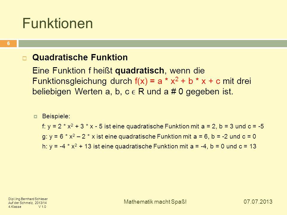 Funktionen  Quadratische Funktion Eine Funktion f heißt quadratisch, wenn die Funktionsgleichung durch f(x) = a * x 2 + b * x + c mit drei beliebigen