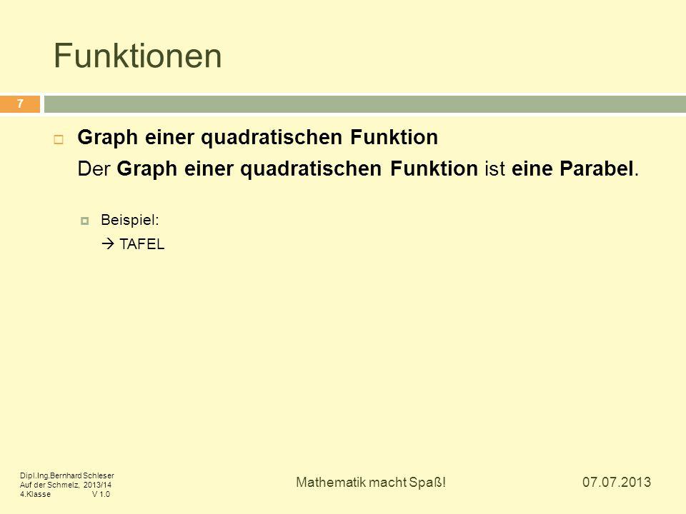 Funktionen  Graph einer quadratischen Funktion Der Graph einer quadratischen Funktion ist eine Parabel.  Beispiel:  TAFEL 07.07.2013 7 Mathematik m