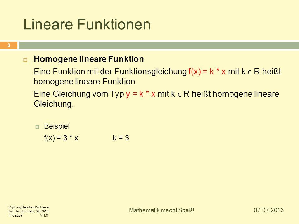 Lineare Funktionen  Homogene lineare Funktion Eine Funktion mit der Funktionsgleichung f(x) = k * x mit k R heißt homogene lineare Funktion. Eine Gle