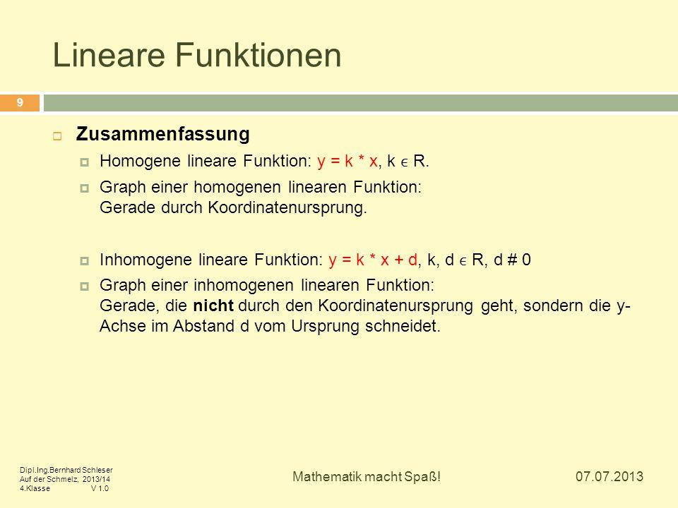 Lineare Funktionen 07.07.2013 Mathematik macht Spaß! 9  Zusammenfassung  Homogene lineare Funktion: y = k * x, k R.  Graph einer homogenen linearen