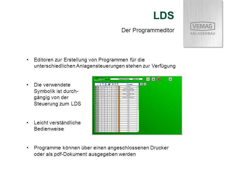 Der Programmeditor LDS Editoren zur Erstellung von Programmen für die unterschiedlichen Anlagensteuerungen stehen zur Verfügung Die verwendete Symboli