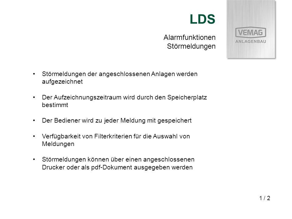 Alarmfunktionen Störmeldungen LDS 1 / 2 Störmeldungen der angeschlossenen Anlagen werden aufgezeichnet Der Aufzeichnungszeitraum wird durch den Speich
