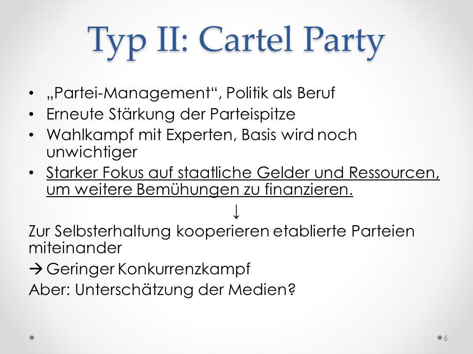 """Typ II: Cartel Party """"Partei-Management"""", Politik als Beruf Erneute Stärkung der Parteispitze Wahlkampf mit Experten, Basis wird noch unwichtiger Star"""
