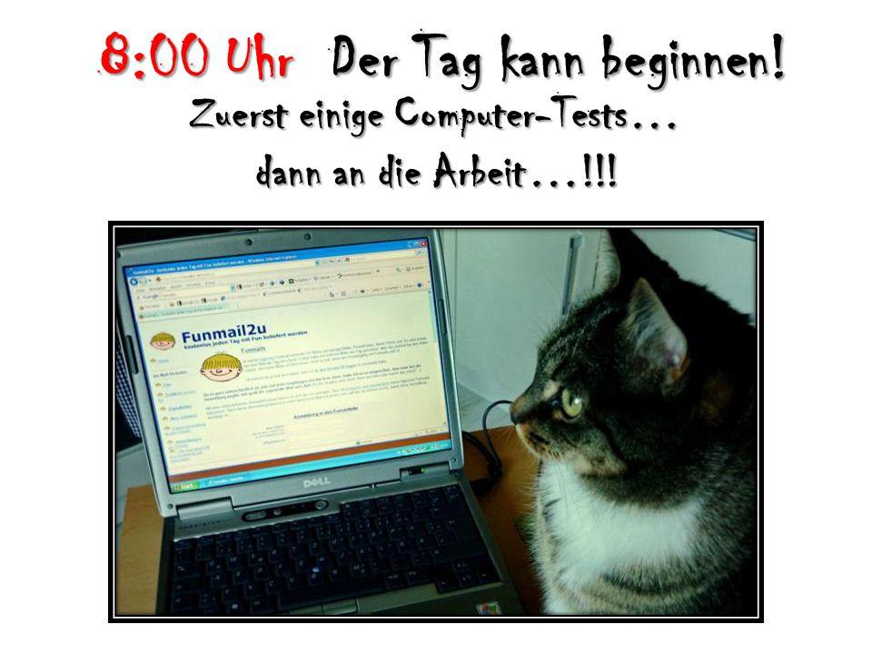 Zuerst einige Computer-Tests… dann an die Arbeit…!!! 8:00 Uhr Der Tag kann beginnen!