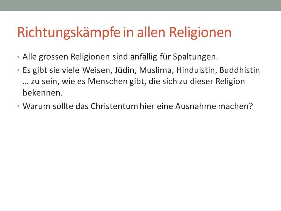 Richtungskämpfe in allen Religionen Alle grossen Religionen sind anfällig für Spaltungen. Es gibt sie viele Weisen, Jüdin, Muslima, Hinduistin, Buddhi