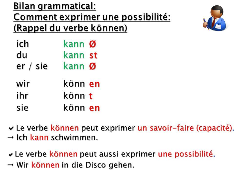 er / sie kann wir könn Bilan grammatical: Comment exprimer une possibilité: (Rappel du verbe können) du kann ich kann ihr könn sie könn  Le verbe kön