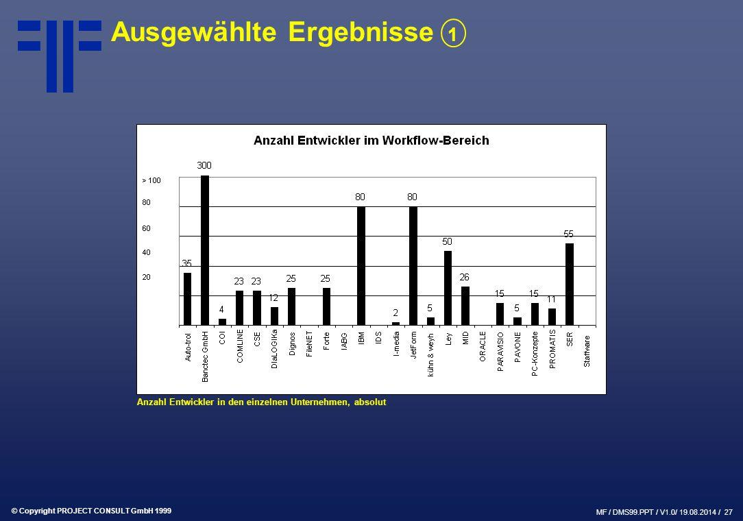 © Copyright PROJECT CONSULT GmbH 1999 MF / DMS99.PPT / V1.0/ 19.08.2014 / 27 Ausgewählte Ergebnisse 1 Anzahl Entwickler in den einzelnen Unternehmen,