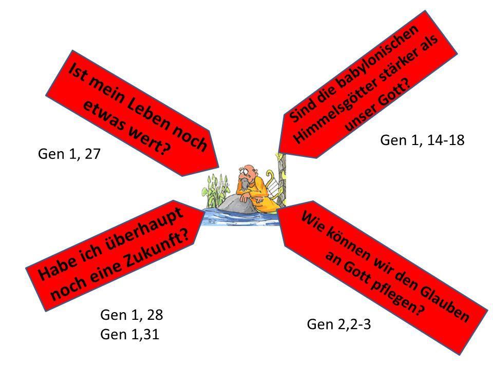 Wie können wir den Glauben an Gott pflegen? Habe ich überhaupt noch eine Zukunft? Sind die babylonischen Himmelsgötter stärker als unser Gott? Ist mei