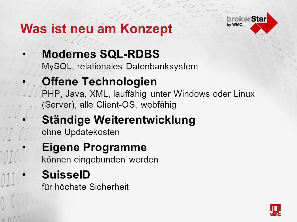 Was ist neu am Konzept Modernes SQL-RDBS MySQL, relationales Datenbanksystem Offene Technologien PHP, Java, XML, lauffähig unter Windows oder Linux (Server), alle Client-OS, webfähig Ständige Weiterentwicklung ohne Updatekosten Eigene Programme können eingebunden werden SuisseID für höchste Sicherheit