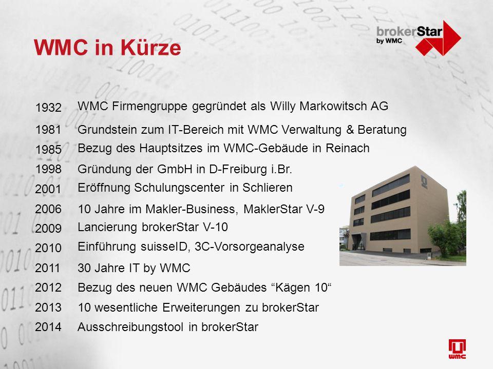 WMC in Kürze 1932 WMC Firmengruppe gegründet als Willy Markowitsch AG 1981Grundstein zum IT-Bereich mit WMC Verwaltung & Beratung 1985 Bezug des Hauptsitzes im WMC-Gebäude in Reinach 1998Gründung der GmbH in D-Freiburg i.Br.
