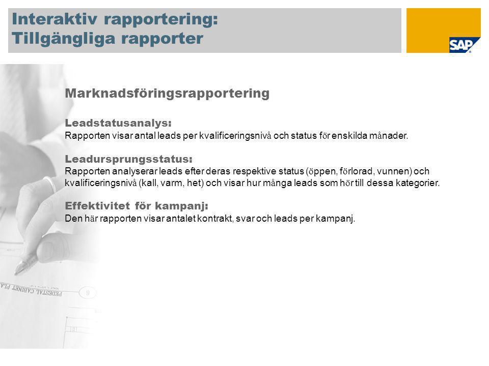 Interaktiv rapportering: Tillgängliga rapporter Marknadsföringsrapportering Leadstatusanalys: Rapporten visar antal leads per kvalificeringsniv å och