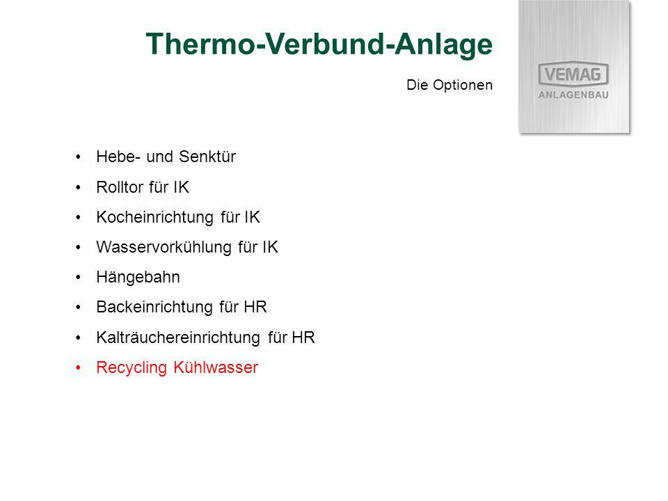 Die Optionen Thermo-Verbund-Anlage Hebe- und Senktür Rolltor für IK Kocheinrichtung für IK Wasservorkühlung für IK Hängebahn Backeinrichtung für HR Kalträuchereinrichtung für HR Recycling Kühlwasser