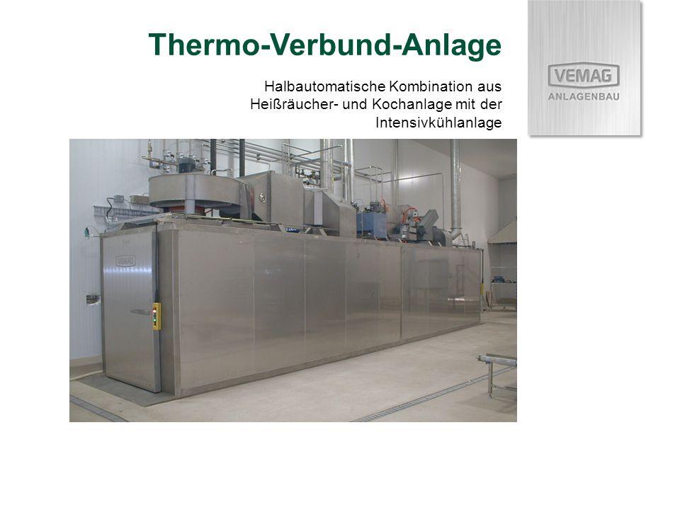 Thermo-Verbund-Anlage Halbautomatische Kombination aus Heißräucher- und Kochanlage mit der Intensivkühlanlage