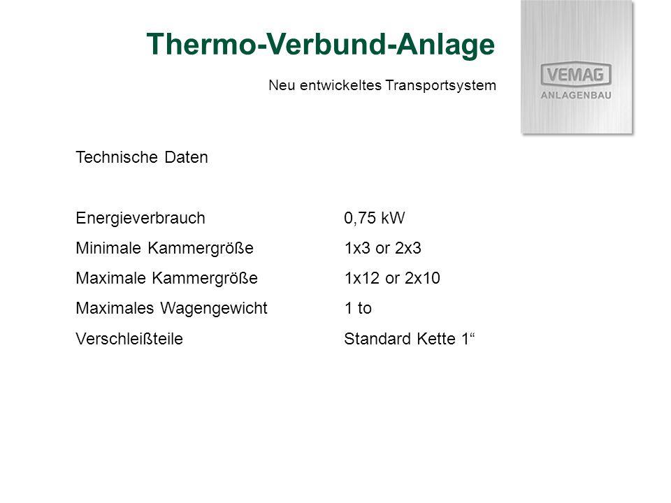 Technische Daten Energieverbrauch0,75 kW Minimale Kammergröße1x3 or 2x3 Maximale Kammergröße1x12 or 2x10 Maximales Wagengewicht1 to VerschleißteileStandard Kette 1 Neu entwickeltes Transportsystem Thermo-Verbund-Anlage