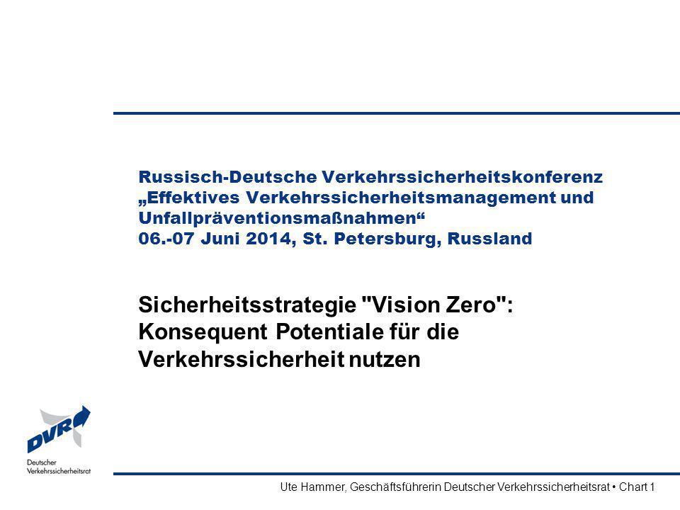 Ute Hammer, Geschäftsführerin Deutscher Verkehrssicherheitsrat Chart 2 Vision Zero – eine Idee nimmt Gestalt an Ursprung in der chemischen Industrie Schweden überträgt den Denkansatz auf den Straßenverkehr