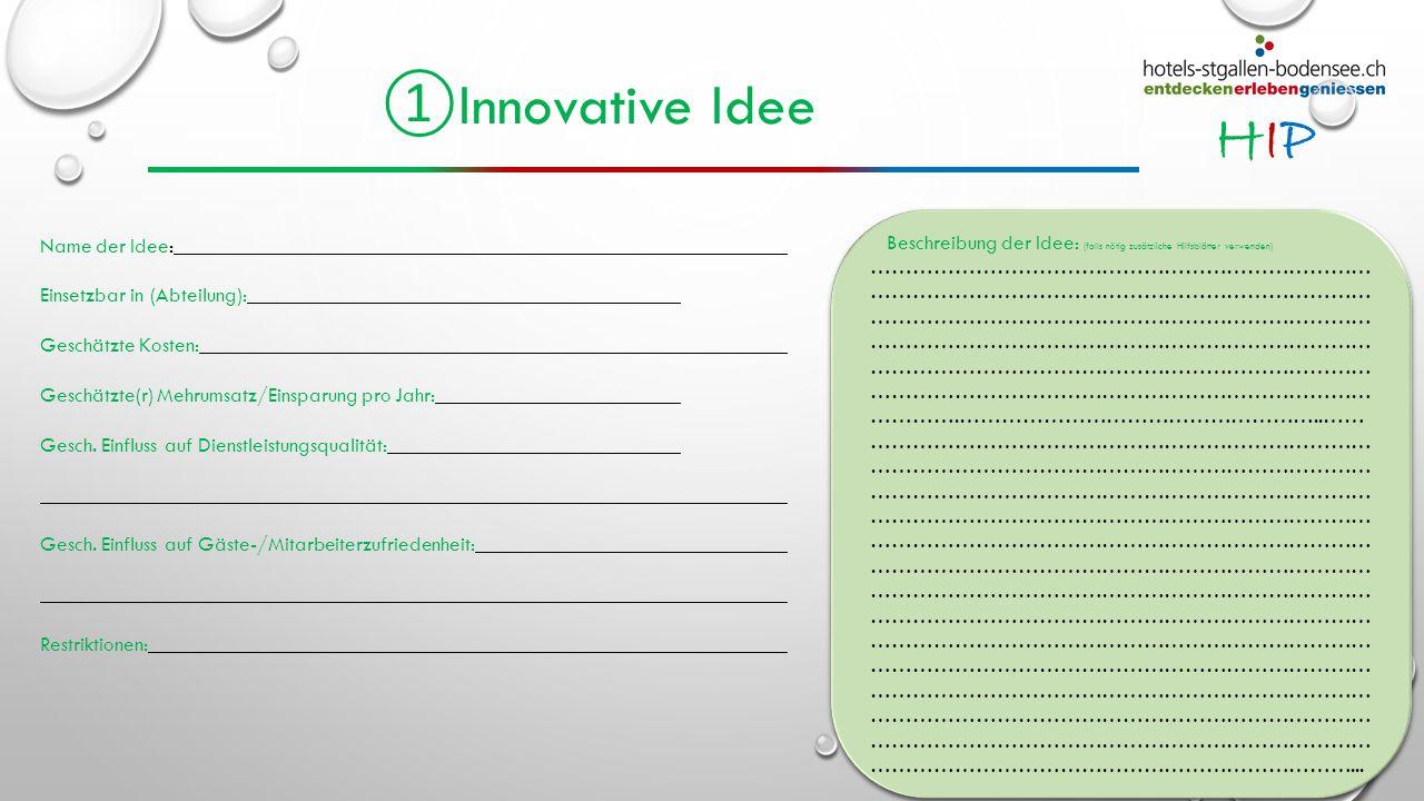 HIPHIP ① Innovative Idee Name der Idee: Einsetzbar in (Abteilung): Geschätzte Kosten: Geschätzte(r) Mehrumsatz/Einsparung pro Jahr: Gesch. Einfluss au