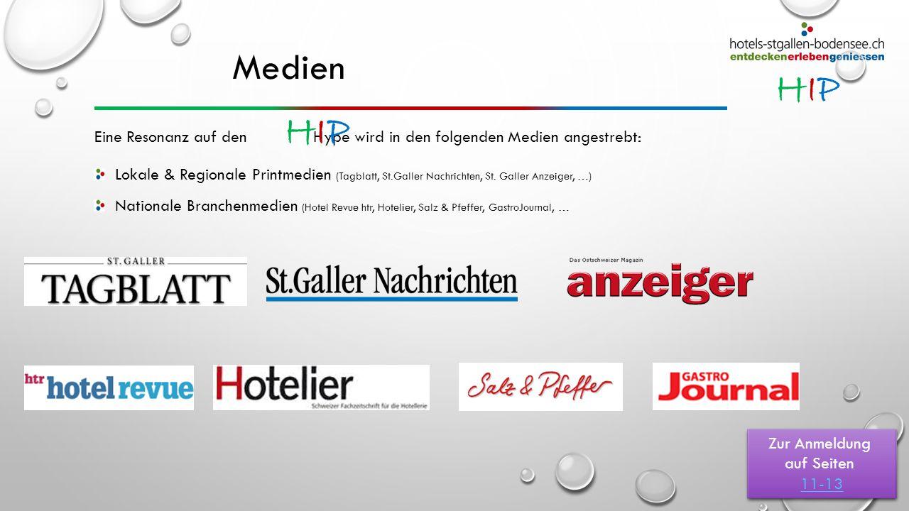 HIPHIP Medien Lokale & Regionale Printmedien (Tagblatt, St.Galler Nachrichten, St. Galler Anzeiger, …) Nationale Branchenmedien (Hotel Revue htr, Hote