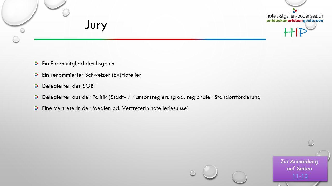 HIPHIP Jury Ein Ehrenmitglied des hsgb.ch Ein renommierter Schweizer (Ex)Hotelier Delegierter des SGBT Delegierter aus der Politik (Stadt- / Kantonsregierung od.