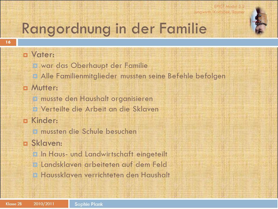 EPICT Modul 3.2 Jungwirth/Kodydek/Rauner Sophie Plank Rangordnung in der Familie Klasse 2B2010/2011 16  Vater:  war das Oberhaupt der Familie  Alle