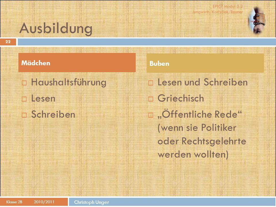 EPICT Modul 3.2 Jungwirth/Kodydek/Rauner Christoph Unger Ausbildung Klasse 2B2010/2011 22  Haushaltsführung  Lesen  Schreiben  Lesen und Schreiben