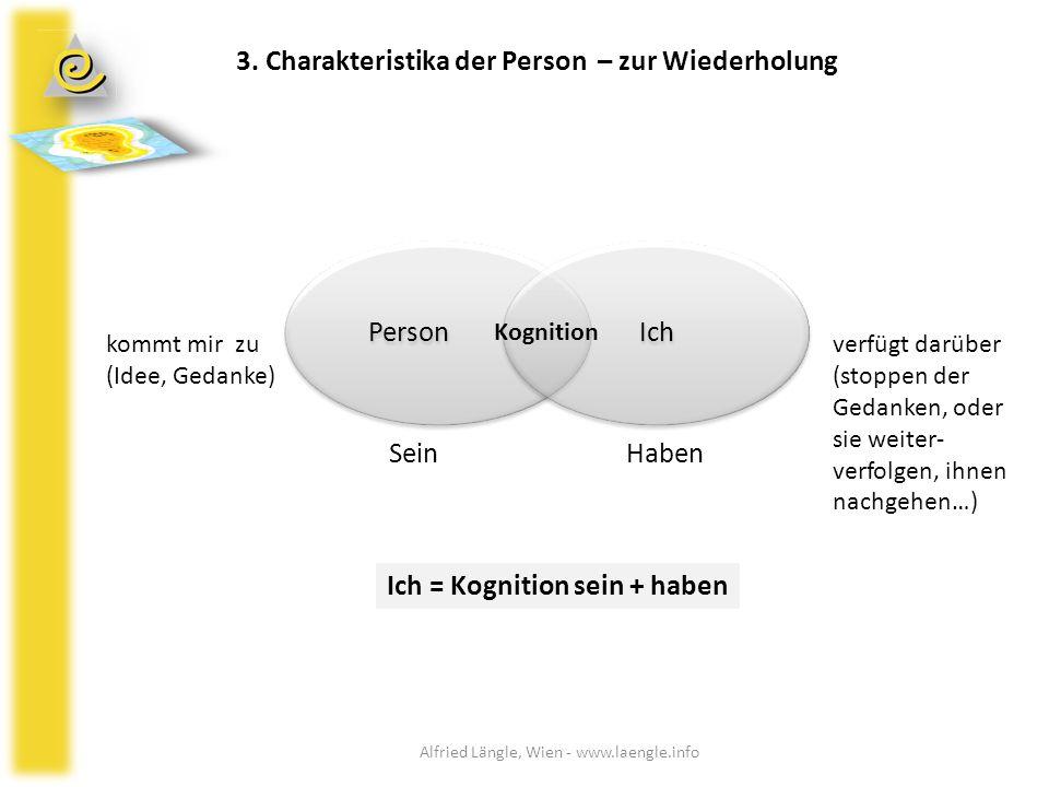 3. Charakteristika der Person – zur Wiederholung Person Ich Kognition SeinHaben kommt mir zu (Idee, Gedanke) Ich = Kognition sein + haben verfügt darü