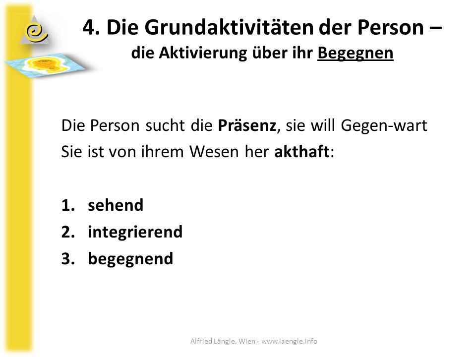 4. Die Grundaktivitäten der Person – die Aktivierung über ihr Begegnen Die Person sucht die Präsenz, sie will Gegen-wart Sie ist von ihrem Wesen her a