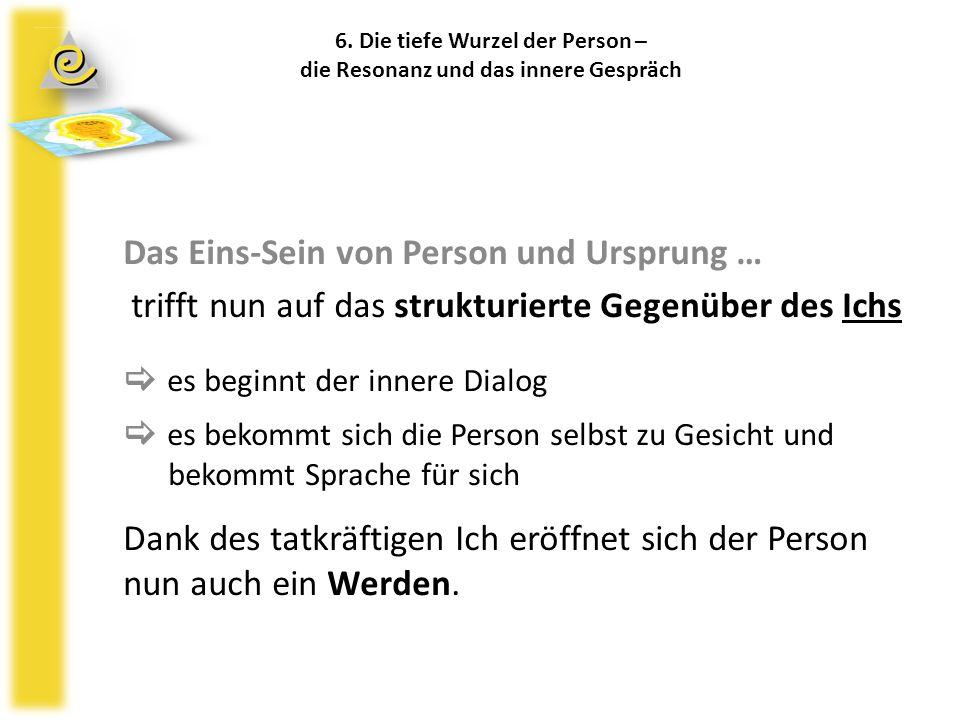 6. Die tiefe Wurzel der Person – die Resonanz und das innere Gespräch Das Eins-Sein von Person und Ursprung … trifft nun auf das strukturierte Gegenüb