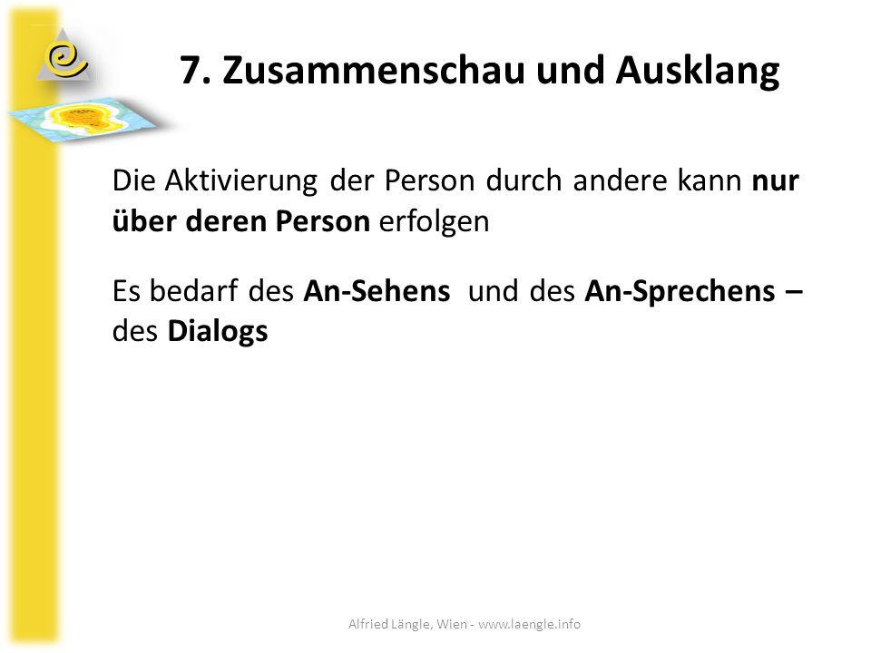7. Zusammenschau und Ausklang Die Aktivierung der Person durch andere kann nur über deren Person erfolgen Es bedarf des An-Sehens und des An-Sprechens