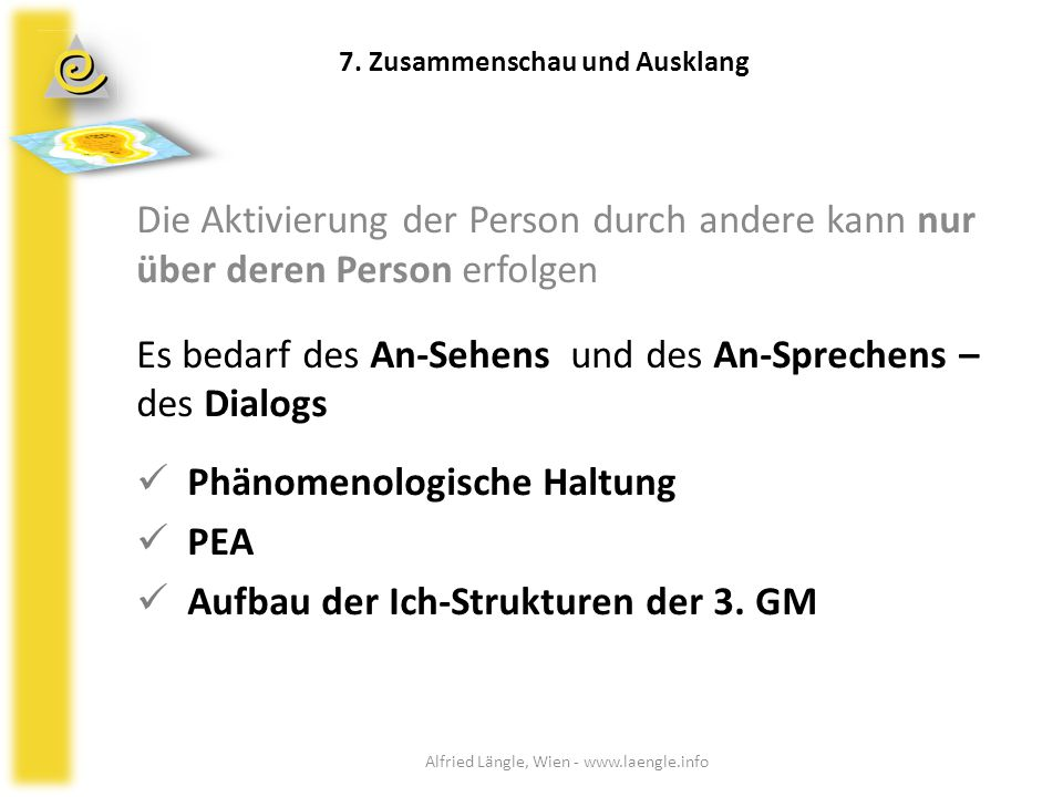 Die Aktivierung der Person durch andere kann nur über deren Person erfolgen Es bedarf des An-Sehens und des An-Sprechens – des Dialogs Phänomenologisc