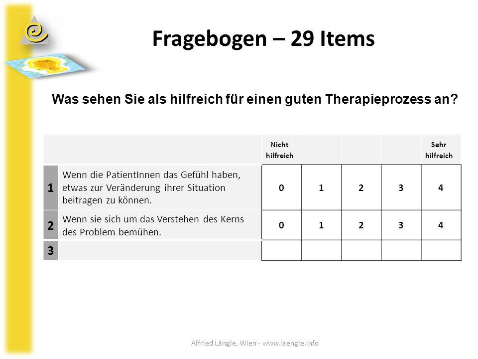 Fragebogen – 29 Items Nicht hilfreich Sehr hilfreich 1 Wenn die PatientInnen das Gefühl haben, etwas zur Veränderung ihrer Situation beitragen zu könn