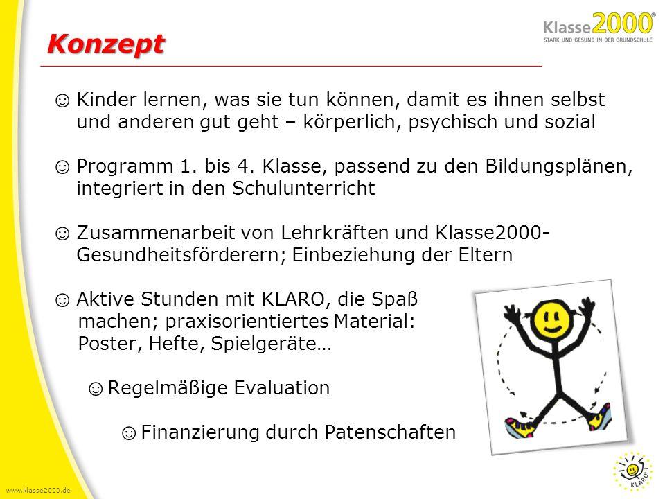 www.klasse2000.de Ziele ☺ Kindern ist es wichtig gesund zu sein und sie sind überzeugt, selbst etwas dafür tun zu können ☺ Kinder kennen ihren Körper und wissen was sie tun können, um gesund zu bleiben und sich wohlzufühlen, z.