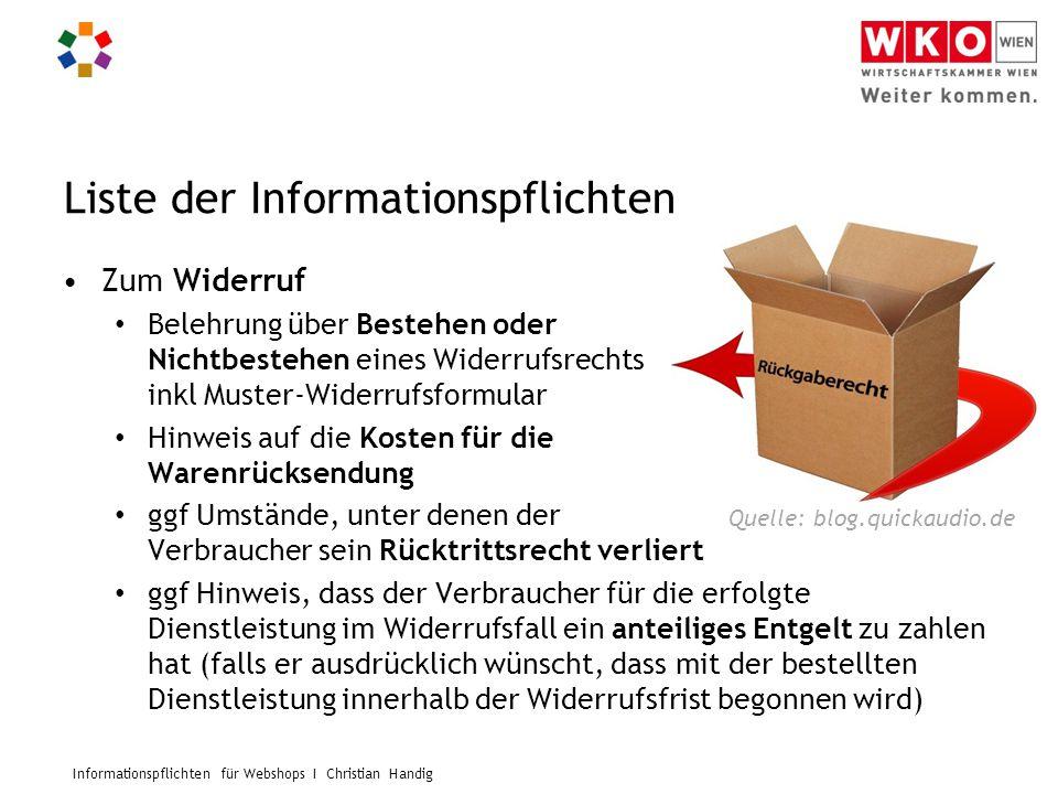 Informationspflichten für Webshops I Christian Handig Liste der Informationspflichten Zum Widerruf Belehrung über Bestehen oder Nichtbestehen eines Wi