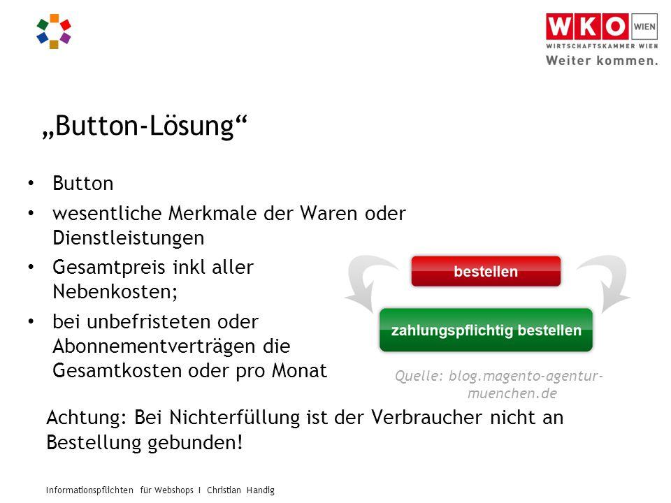 """Informationspflichten für Webshops I Christian Handig """"Button-Lösung"""" Button wesentliche Merkmale der Waren oder Dienstleistungen Gesamtpreis inkl all"""