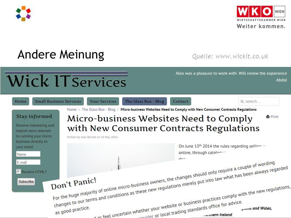 Informationspflichten für Webshops I Christian Handig Andere Meinung Quelle: www.wickit.co.uk