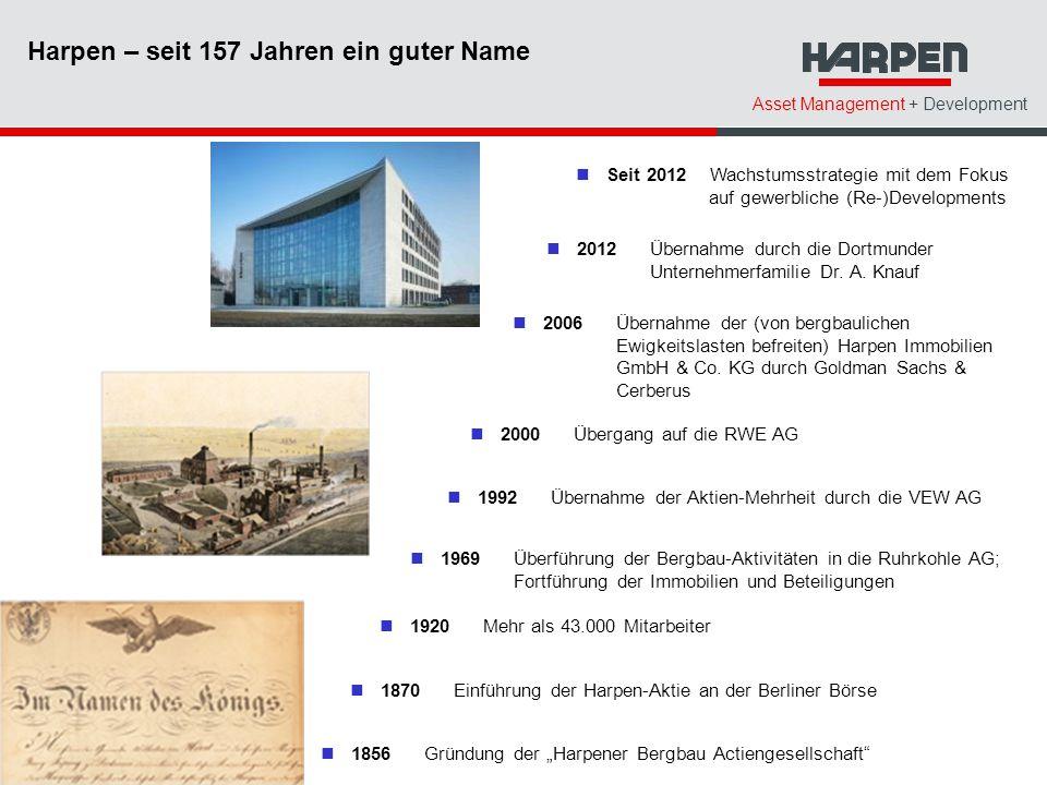 Asset Management + Development 2006Übernahme der (von bergbaulichen Ewigkeitslasten befreiten) Harpen Immobilien GmbH & Co.