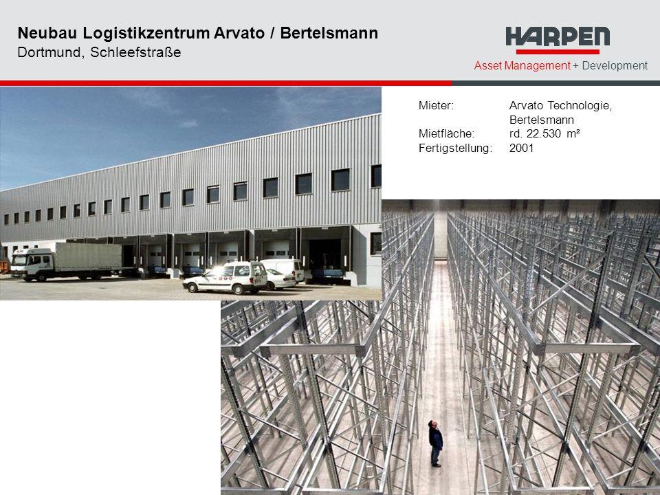 Asset Management + Development Mieter: Arvato Technologie, Bertelsmann Mietfläche:rd. 22.530 m² Fertigstellung:2001 Neubau Logistikzentrum Arvato / Be